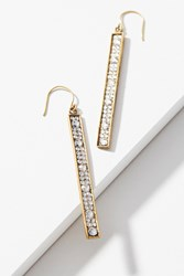 Anthropologie Rhinestone Matchstick Drop Earrings Gold