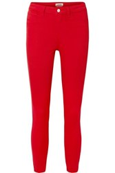 L'agence Margot Cropped High Rise Stretch Skinny Jeans Red