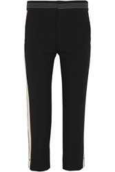Chloe Canvas Trimmed Crepe Straight Leg Pants Black
