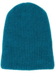 The Elder Statesman Cashmere Ribbed Beanie Blue