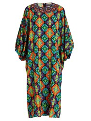 Andrew Gn Geometric Print Silk Blend Crepe Dress Green Multi