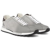 Berluti On Track Suede And Leather Sneakers Gray