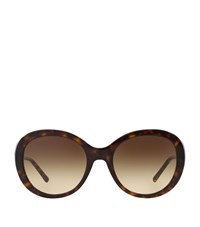 Burberry Shoes And Accessories Round Gabardine Sunglasses Female Brown