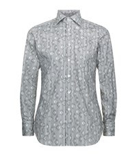 Billionaire Geometric Print Slim Fit Shirt Male Grey