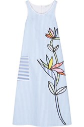 Mira Mikati Bird Of Paradise Appliqued Striped Cotton Twill Midi Dress Light Blue