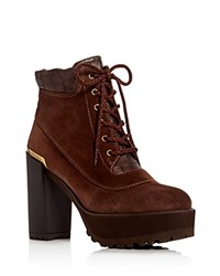 Stuart Weitzman Rugged High Heel Platform Booties Brown