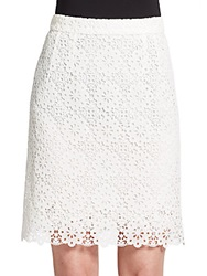 Dolce And Gabbana Scalloped Eyelet Pencil Skirt Ivory