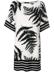 Clips Fern Print T Shirt Dress White