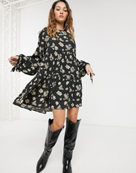 Capulet Celeste Floral And Butterfly Tiered Mini Dress Black