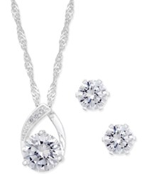 Charter Club Silver Tone Crystal Pendant Necklace And Earrings Set Only At Macy's