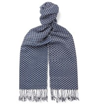 Il Bussetto Fringed Indigo Dyed Cotton Jacquard Scarf Blue