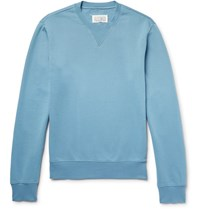 Maison Martin Margiela Leather Elbow Patch Loopback Cotton Jersey Sweatshirt Light Blue