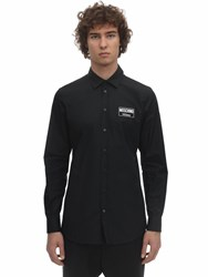 Moschino Cotton Poplin Shirt W Logo Patch Black