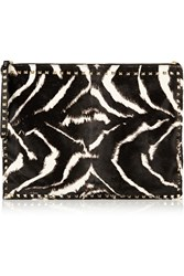 Valentino Zebra Print Calf Hair Clutch Animal Print