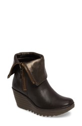 Fly London Women's 'Yex' Platform Wedge Bootie Chocolate Bronze Leather