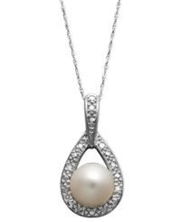 Belle De Mer 14K White Gold Necklace Cultured Freshwater Pearl 8Mm And Diamond Accent Teardrop Pendant