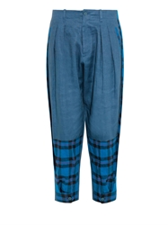 Yohji Yamamoto Regulation Tartan Panel Linen Trousers
