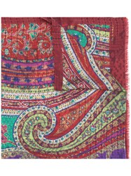 Etro Printed Scarf Red