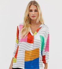 Esprit Abstract Print Blouse In White Multi