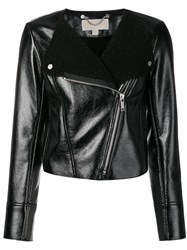 Michael Michael Kors Round Neck Fitted Jacket Black