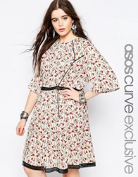 Asos Curve Skater Dress In Ditsy Floral Print With Lace Inserts Multi