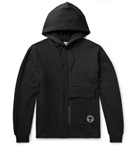 Mcq By Alexander Mcqueen Logo Embroidered Panelled Loopback Cotton Blend Terry And Jersey Hoodie Black