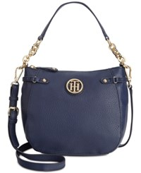 Tommy Hilfiger Sadie Pebble Leather Crossbody Navy