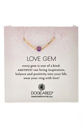 Women's Dogeared 'Love Gem' Semiprecious Stone Chain Ring Amethyst Gold