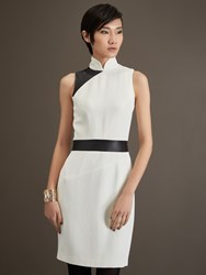 Shanghai Tang Panel Leather And Wool Blend Mandarin Collar Dress Cream