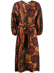 Roseanna Floral Wrap Dress Brown