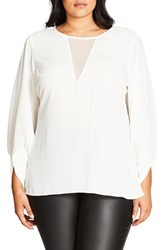 City Chic Plus Size Women's Peekaboo Blouse Ivory