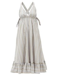 Loup Charmant Amalfi Cross Back Striped Cotton Dress Beige Stripe
