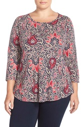 Lucky Brand Floral Print A Line Tee Plus Size Multi