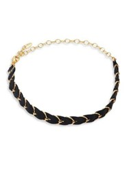Ettika Punk Pony Leather And Chain Choker Black Gold