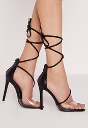 Missguided Perspex Toe Strap Lace Up Barely There Heels Black Black