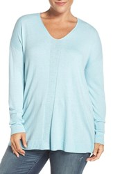Sejour Plus Size Women's V Neck Sweater Blue Glaze