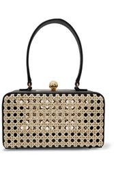 Mehry Mu Luna Leather And Rattan Tote Black