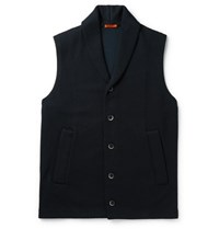 Barena Shawl Collar Quilted Cotton Blend Gilet Navy