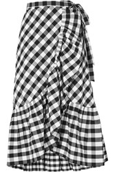 J.Crew Glo Ruffled Gingham Cotton Poplin Wrap Skirt Black Gbp
