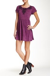 Angie Short Sleeve Embroidered Sweater Dress Purple