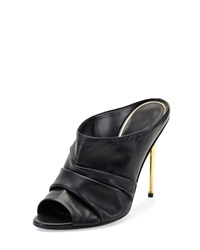 Tom Ford Ruched Leather High Heel Mule Black