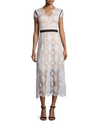 Catherine Deane Short Sleeve Lace Midi Dress Oyster Almond