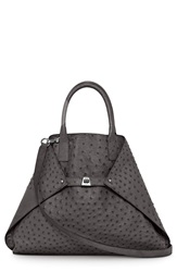 Akris 'Medium Ai' Genuine Ostrich Leather Tote Slate