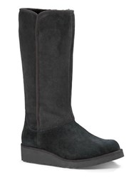 Ugg Kara Sheepskin And Suede Mid Calf Boots Black