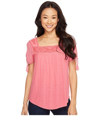 Lucky Brand Embroidered Top Desert Rose Women's Blouse Pink
