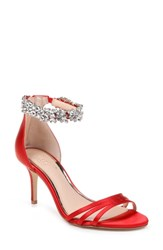 Jewel Badgley Mischka Zamora Ankle Strap Sandal Scarlet Red Satin