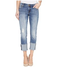 Kut From The Kloth Cameron Wide Fray Cuff Straight Leg In Gain Gain Women's Jeans Blue