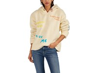 Mira Mikati Embroidered Faux Shearling Hoodie Cream