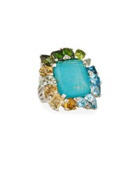 Stephen Dweck Gold Rutilated Quartz Over Turquoise Doublet Ring Multi