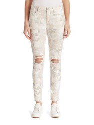 7 For All Mankind Distressed Floral Print Ankle Skinny Jeans Syndey Garden